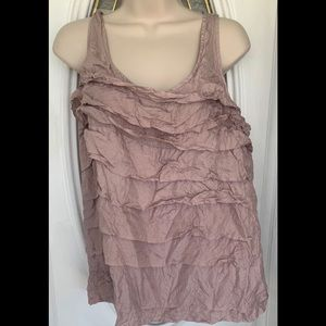 Eileen Fisher Silk Pale Orchid Ruffle Top